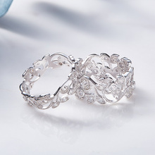 Strieborný prsteň kvetinový ORNAMENT Kryštál 2vzory Silver Floral Ring Crystal