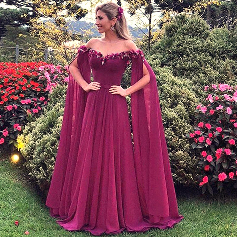 Long Fuchsia Flowers 2019 Evening Dresses With Sleeves Chiffon Prom Gowns Robe De Soiree Elegant Formal Arabic Dress Party Wear