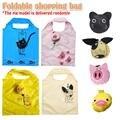 Cartoon Faltbare Katze Hund Schwein Muster Einkaufstasche Tragbare Lagerung Polyester Umwelt Freundliche Lebensmittel Lagerung Tasche