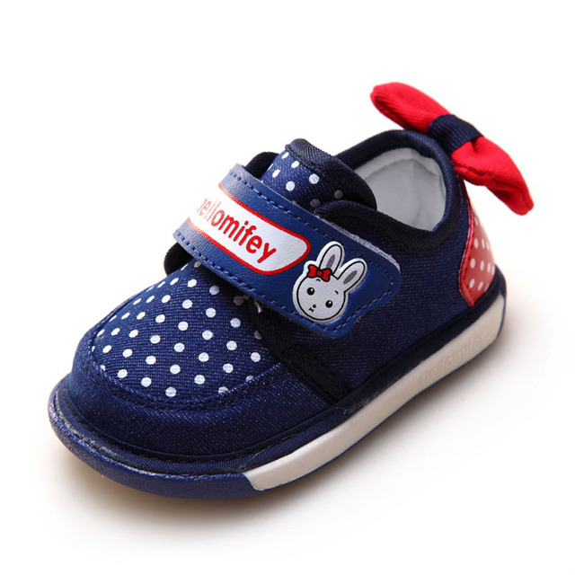 2017 Autumn Slip on Baby First Walkers Soft Sole Infant Girls Walkers Shoes With Bow at Back Kids Casual Shoes