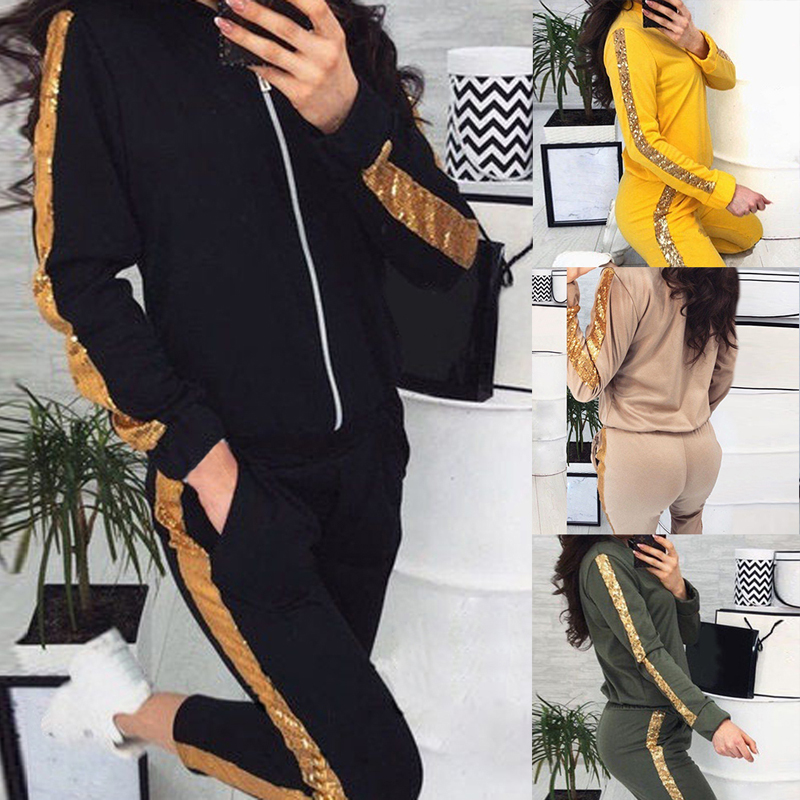Vertvie Sports Womens Long Sleeve Sweatshirt Hoodie Bodycon Pants Set Glitter Sequin Pullover 2 Piece Outfit Tracksuit Fitness