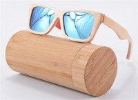 Brand Designer Ice Blue wooden Sunglasses Bamboo Handmade Polarized Glasses UV400 Lens Eyewear Z68020