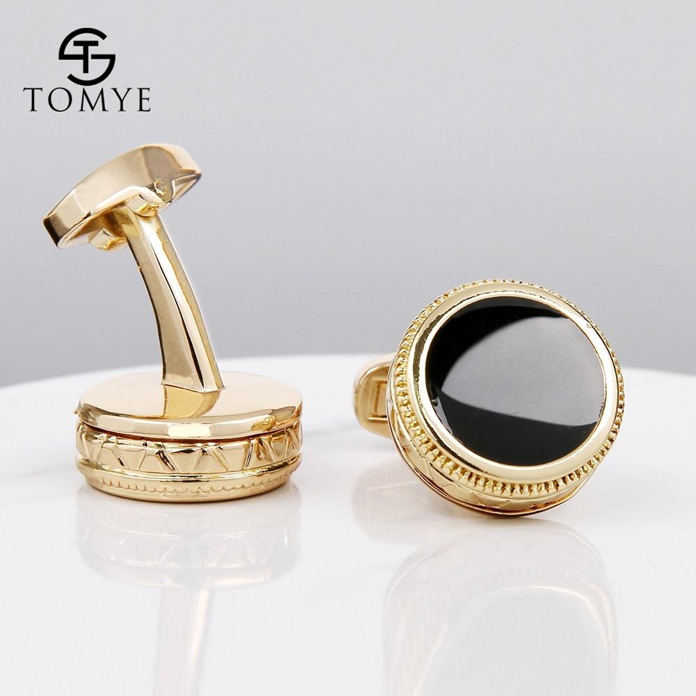 TOMYE suit shirt gold black enamel wedding luxury cufflinks for mens XK19S064 in Tie Clips Cufflinks from Jewelry Accessories