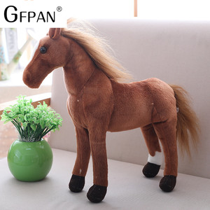 Image 2 - 1pc 60 30cm Simulation Horse 5 Styles  Stuffed Animal Plush Dolls High Quality Classic Toys For Children Gift