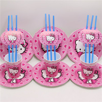 Hello Kitty Kids Favors Paper Plates Cups Disposable Dishes Glass Straws Birthday Party Decoration Baby Shower