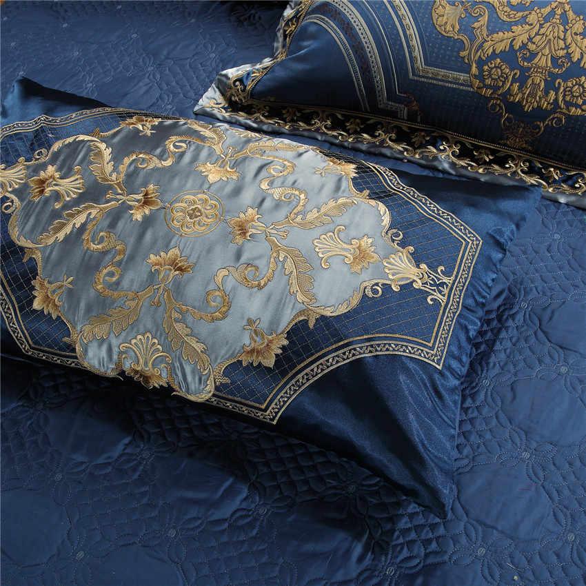 4/6/10 ピース高級シルク綿サテンブルー寝具セットクイーンキングサイズ布団カバーベッド/ フラットシートベッドスプレッドセット枕