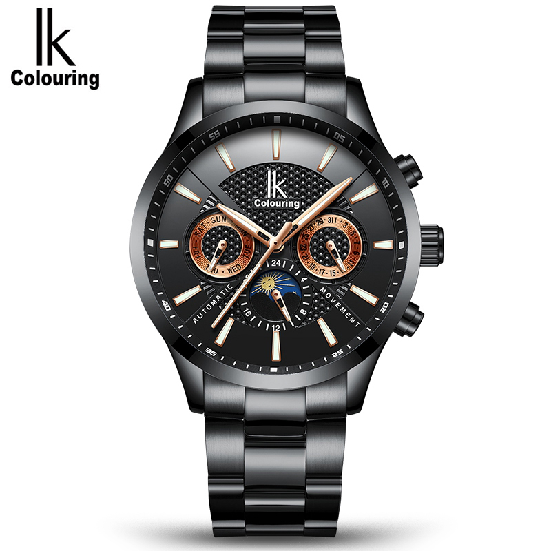 IK Brand 2018 Fashion Mens Chronograph Black Stainless Steel Mesh Strap Military Sport Quartz Wrist Watches with Luminous Hands ysdx 398 fashion stainless steel self stirring mug black silver 2 x aaa
