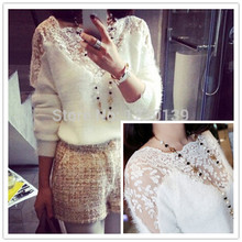 New Casual Crochet Knitted Sweaters Pullovers Winter Women Lace Patchwork Mohair Tops Ladies Blouse Woman Clothing bz852684