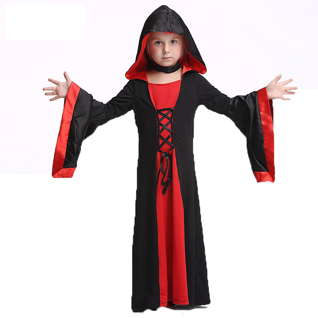 deluxe kids medieval black gothic witch costume toddle girls devil sorceress halloween costume for child cosplay