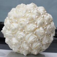 Reine farbe elfenbein braut hochzeit bouquets künstliche blume creme satin rose hochzeit blume diy nehmen verschiedenen farb besten preis