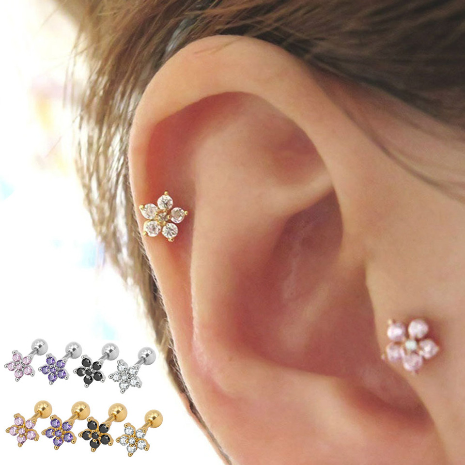 Trendy 2 Pcs Crystal Flower Cartilage Earring Stainless Steel