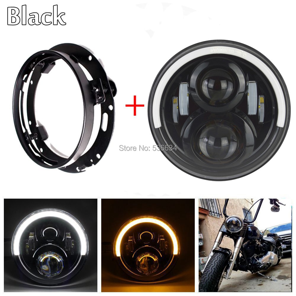 7 Inch LED Round Projector Daymaker Headlight With LED Headlight Mounting Bracket Ring For Harley Davidson Softail Slim usb3 0 round type panel mounting usb connecter silver surface