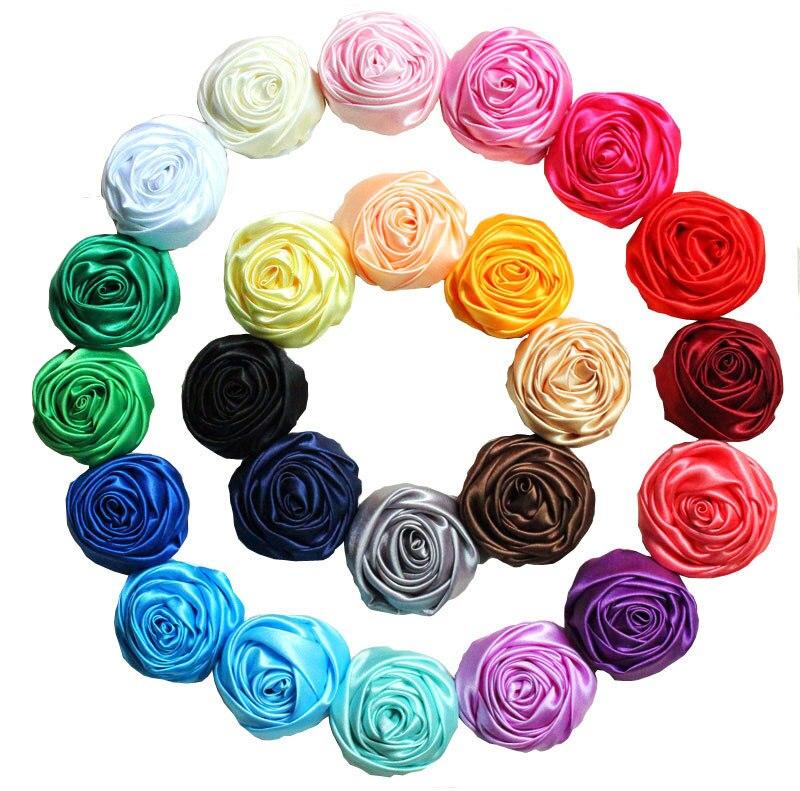 New Multilayer Satin Rosettes,satin rose Flowers  for girls Headband  Hair Acessories 50pcs/lot 24 colors in stock zambaiti satin flowers 2214