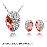 2017 hot sale Charming Drop Crystal necklace earrings set made with swarovski elements good for Christmas Gift Bijoux
