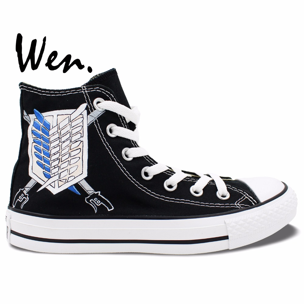 ФОТО Wen Anime Hand Painted Shoes Unisex Casual Shoes Custom Design Attack On Titan Men Women's Black High Top Canvas Shoes