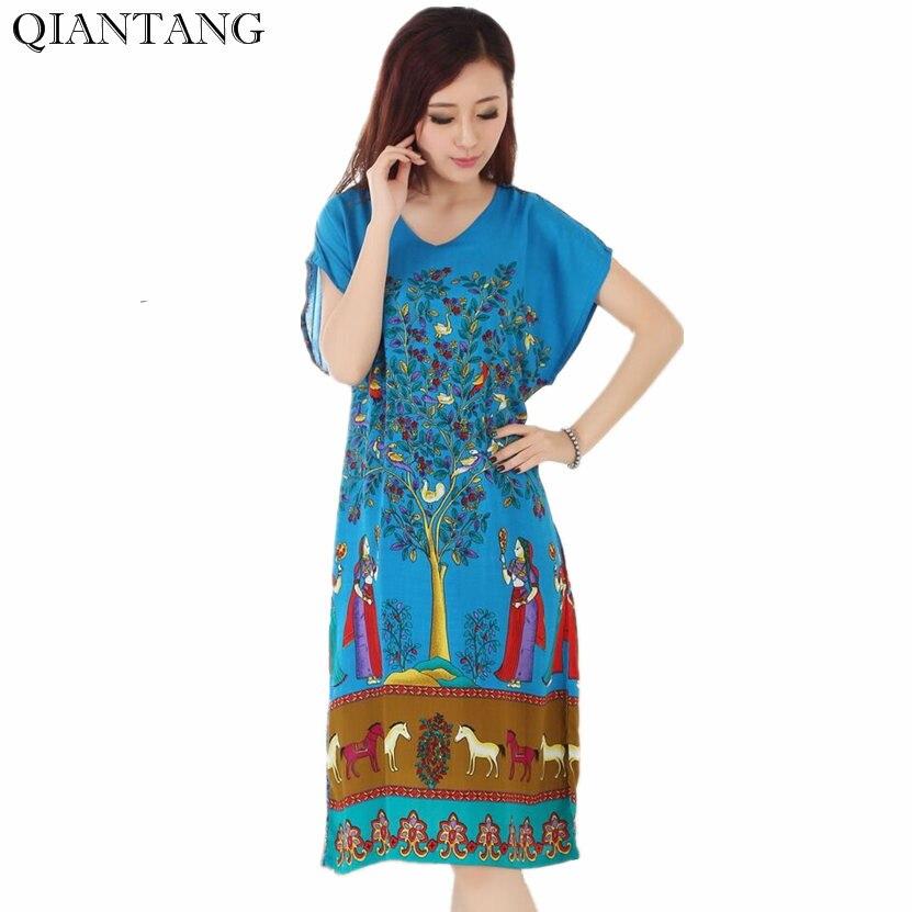 Summer Chinese Womens Cotton Robe Novelty Stylish Bath Gown Yukata Nightgown Nuisette Pijama Mujer One Size R34026