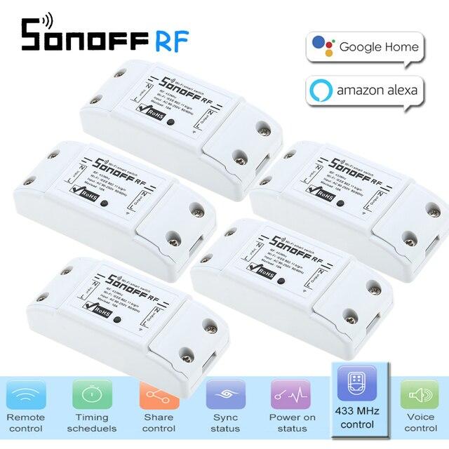 5 piezas Itead Sonoff RF 433 MHZ interruptor remoto inteligente Wifi Domotica Wifi interruptor de retardo controlador de luz inteligente para el hogar a través de APP para Alexa.
