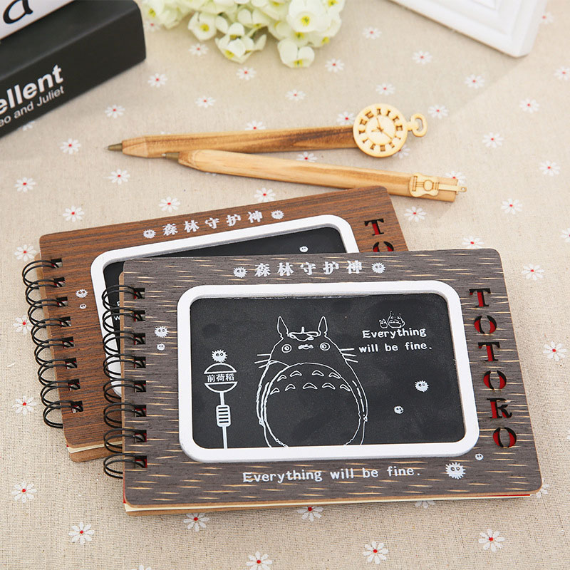 Cute Cartoon Totoro Wooden Notebook Diary Book Creative Wooden Cover Notepad With Pen For Kid Stationery Gift Birthday 1pc creative cute cartoon animal planner notebook diary book wooden school supplies student gift