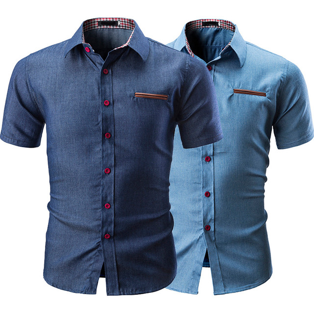 Camisas hombres top casual Camisa vestido hombre Ropa botón Turn Down Collar camisa de manga corta hombres tops moda hombre 2019 de moda