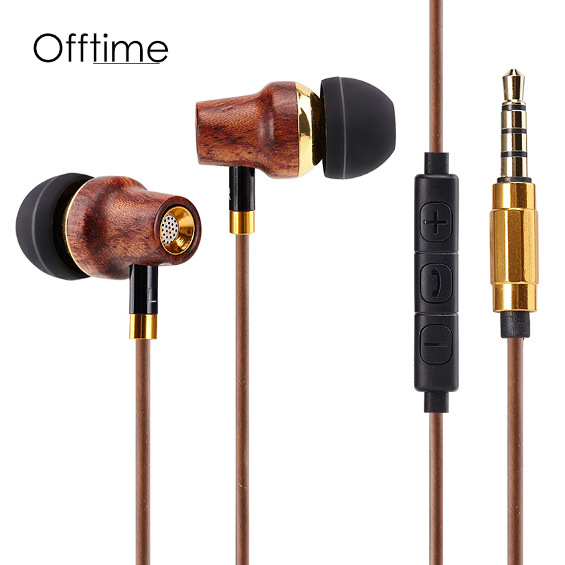 Offtime M11 Headphone subwoofer headset high quality Wood HiFi earphones 3.5mm noise cancelling Super bass Sport headsets brand new mee m6pro top quality earphones hifi noise cancelling bass earphones pk se215 ie800 syllable earphones with retail box