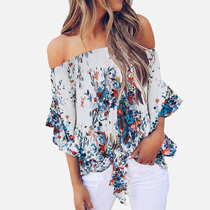 Женская шифоновая рубашка с открытыми плечами и цветочным принтом, топ с вырезом лодочкой и бантом, женская блузка с рукавом 3/4, топы, летние ...