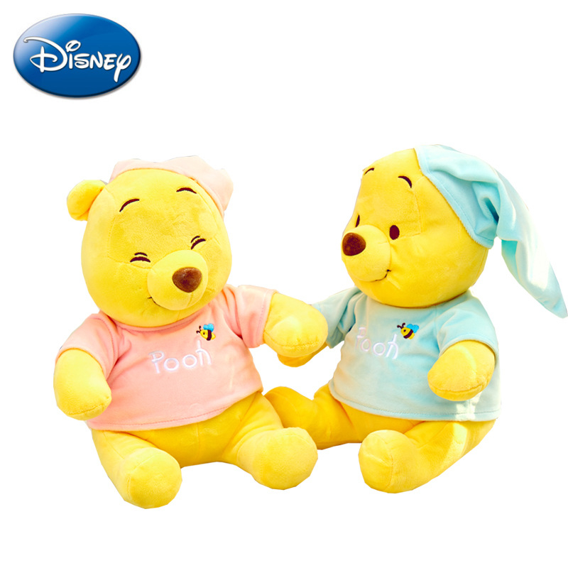 Original Disney 22/30CM Pajamas Winnie The Pooh Soft Stuffed Animal Plush Appease Doll Toy Birthday Decorations Gift Kids Gifts