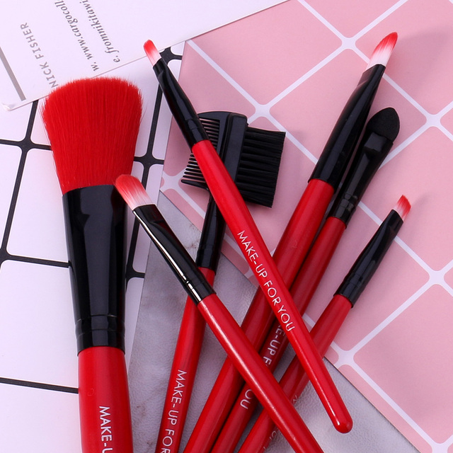 BANXEER 7pcs/lot Red Make Up Brushes Set Cosmetics Brush Set Beauty Eye Primer Powder Blush Brush With Bag 5