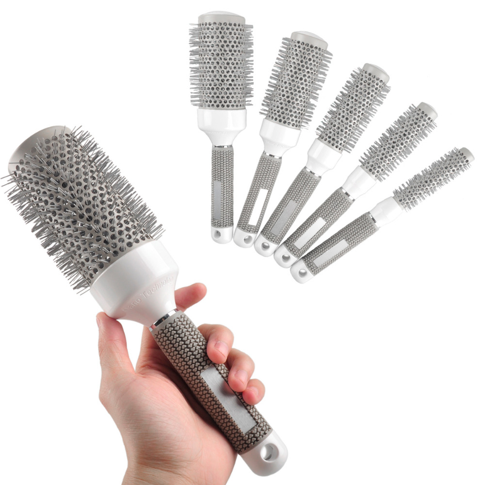 5pcs/Lot Mix Size Roll Round Comb Barber Hair Salon Dressing Styling Hair Brush 5 inch hair comb for pets cats