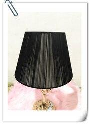 Darmowa wysyłka pokrywa lampy do lampy stołowej czarna tkanina abażur modne dekoracyjne E27 lampa stołowa do sypialni