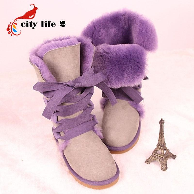 11.11 Price Plus Size 40 Lacing Up Snow Boots Women Winter Shoes European Female Cotton-Padded Flat Shoes Botas Femininas