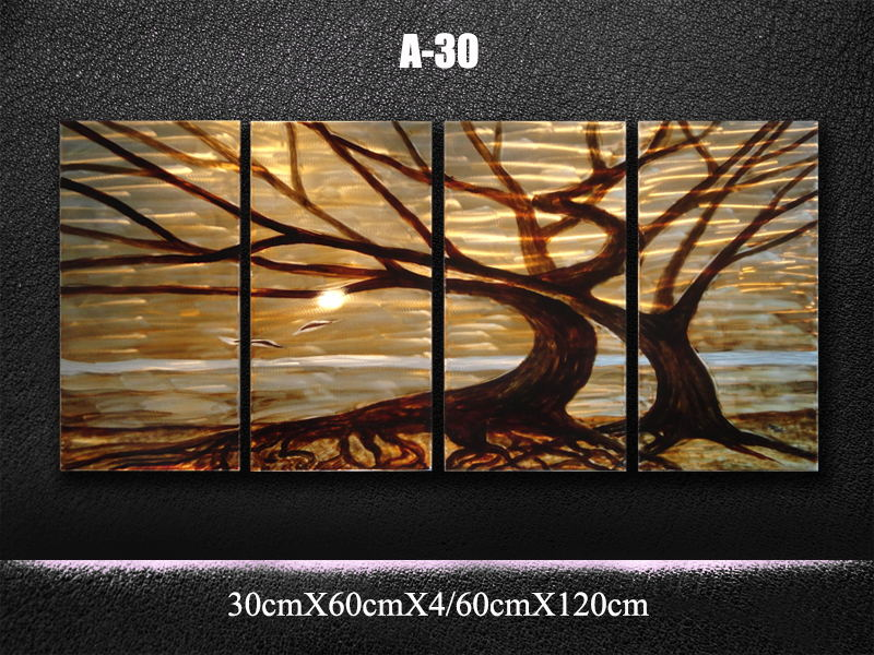 Original Classic Metal Art Abstract Wall Painting Brown