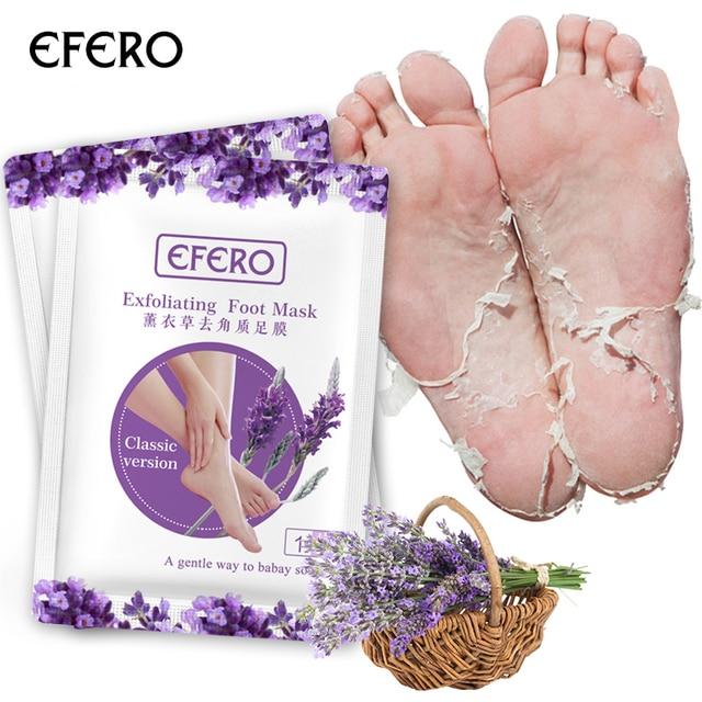 EFERO 2 pares = 4 piezas de máscara exfoliante de pies de lavanda para las piernas calcetines para la Crema de cuidado de los pies de pedicura quitar máscara de pie de piel muerta