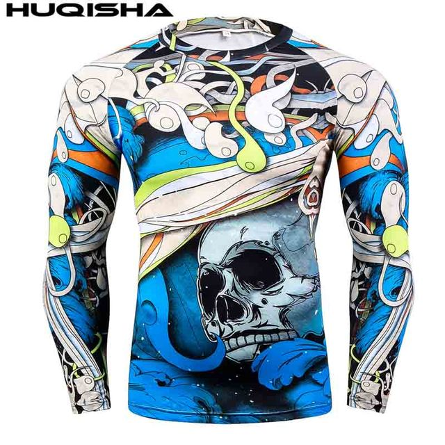 Mens MMA Fitness Rashguard T Shirts Fashion 3D Teen Wolf Long Sleeve Palace Compression Shirt Man Bodybuilding Clothing 1