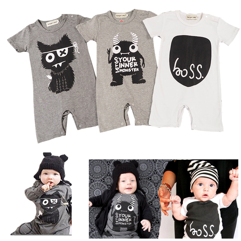 2017 Fashion Baby Boy Clothes Monster Short Sleeve Baby Rompers Newborn Cotton Baby Girl Clothing Jumpsuit Infant overalls fashion baby clothes cartoon baby boy girl rompers cotton animal and fruit pattern infant jumpsuit hat set newborn baby costumes
