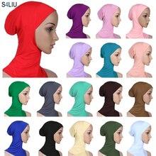 ผู้หญิง Ninja ฝาครอบ Bonnet หมวก Underscarf มุสลิม Lady หมวกผ้าพันคอหมวก Skullies Beanies Beanies ฝาครอบ Bonnet แฟชั่น