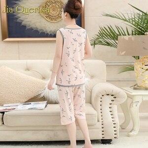 Image 4 - Pijamas grandes para mujer, novedad de 2019, conjunto de ropa de casa de algodón Floral, pantalones cortos de noche, de talla grande 4xl Pijama de algodón, verano Rosa Pj