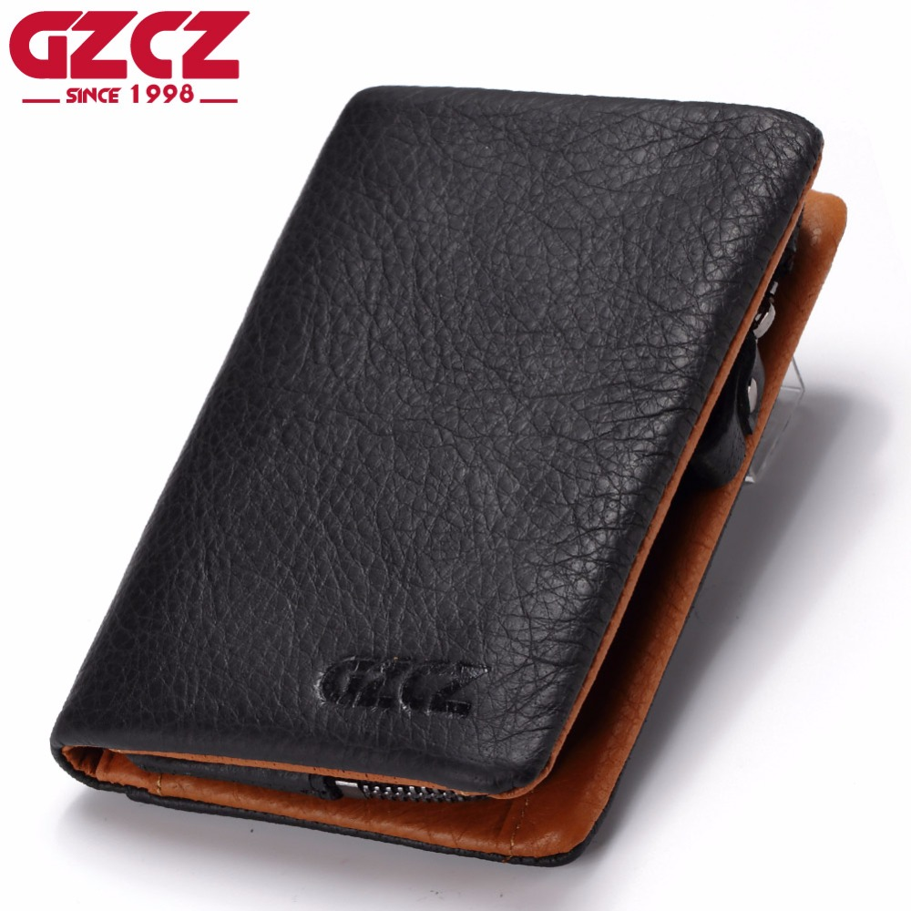 GZCZ Genuine Leather Wallet Men Zipper Design Coin Purse Card Holder Male Walet Portomonee Vintage Style Clamp For Money Bag