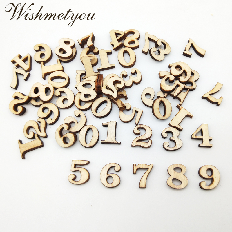 WISHMETYOU 100pcs 0 9 Mixed Number Wooden Handmade Embellishments Decor Wedding Birthday Party Diy Home Crafts Supplies Wood Hot in Wood DIY Crafts from Home Garden