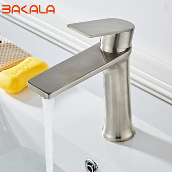 BAKALA Unleaded Basin Faucet Modern Style Bathroom SUS304 Stainless Steel Deck Mounted bath Cold and Hot Water tap Mixer Handle