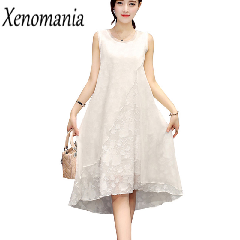 US $23.19 20% OFF|Silk Dress Plus Size Dresses For Women 4XL 5XL 6XL Summer  Beach Dress 2018 Korean Sundress Off White Long Hippie Boho Bohemian-in ...