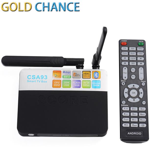 S912 CSA93 Amlogic Caixa de TV Android Octa núcleo ARM Cortex-A53 2G/16G Android 6.0 TV Box WiFi BT4.0 2.4G/5.8G H.265 4 K jogar