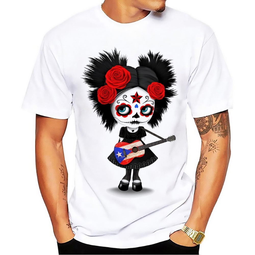 Sugar Skull Girl Playing Puerto Rican Flag Guitar Funny -8205