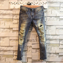 2015 Summer Style Men Ripped Denim Jeans Male Beam Hole Jeans Pants 9 Harem Pants High Quality W28 W36 KP3301