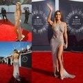Jennifer Lopez 2014 Luxury Sexy Prom Dresses Criss Cross Straps Split side Sequins Evening Celebrity Red Carpet Gowns c61