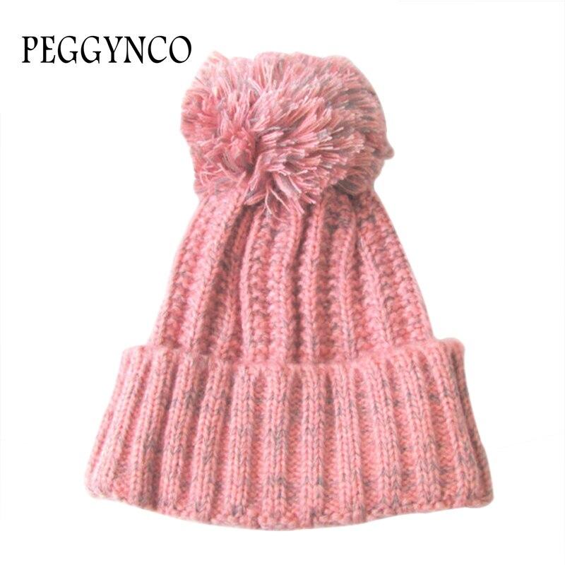 Bleu rose crochet bonnet avec pompon hiver froid meilleure