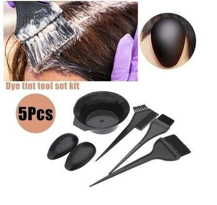 5Pcs Hairdressing Brushes Bowl Combo Salon Hair Color Dye Tint Tool Set Kit Fashion Hair Tools
