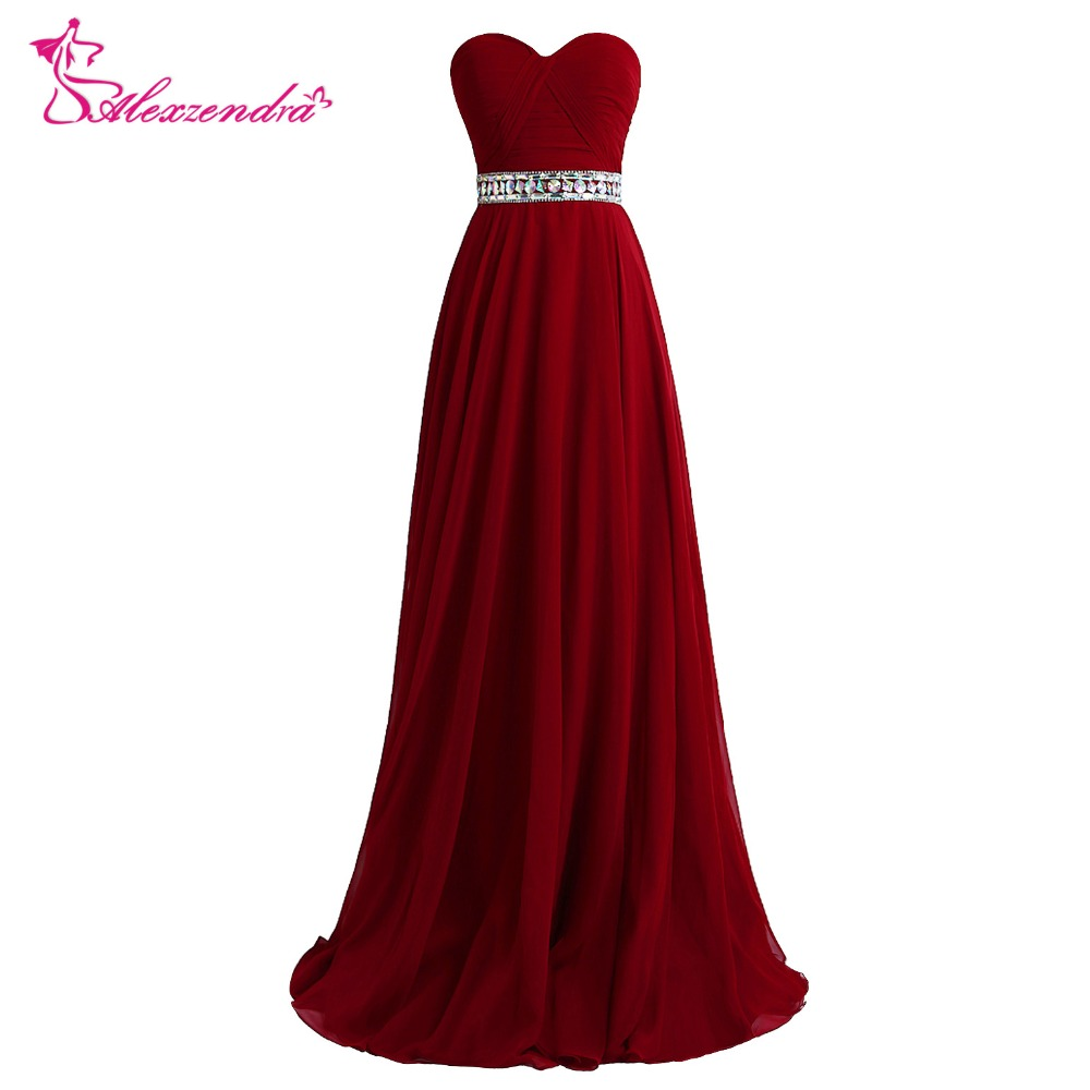 Alexzendra Burgundy Long A Line Beaded   Prom     Dresses   Crystals Sweetheart Evening Gowns Party   Dress