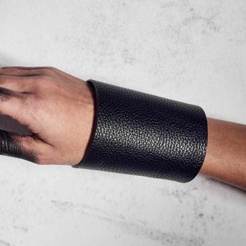 2019 Punk czarny skórzany urok w stylu mody luksusowe Unisex szeroki duża bransoleta bransoletka mężczyźni kobiety biżuteria