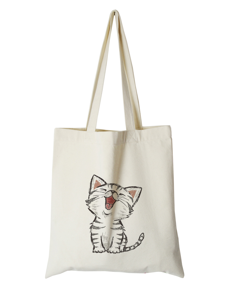 cute cat series canvas custom tote bag customized eco bags custom made shopping bags with logo  Dachshund Shepherd Dog Poodle (7)