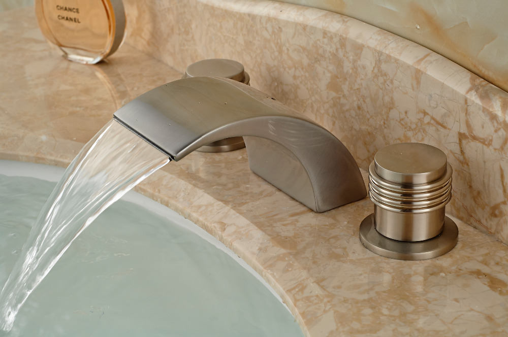 Bathroom Sink Spout : Roman Waterfall Spout Bathroom Basin Faucet Nickel Brushed Vanity Sink ...